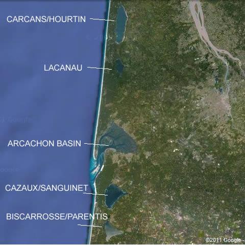 Aquitaine sailing lakes