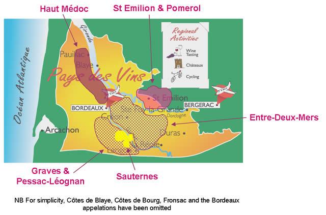 map of principal Bordeaux wine regions