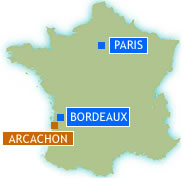 Map of France showing Arcachon