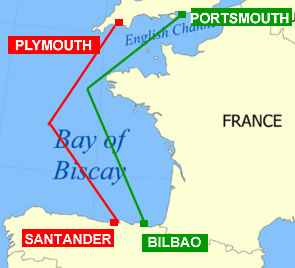 Bay of Biscary ferry routes
