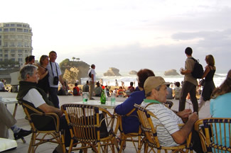 Cafe culture at Biarritz Grande Plage