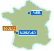 Map of France showing Soulac